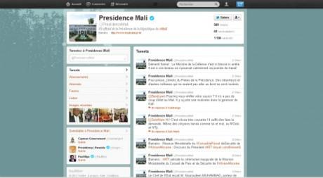 Le compte twitter de la présidence du Mali