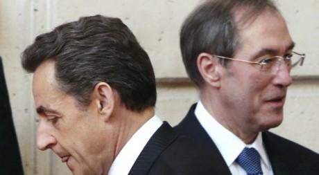 L'ex-président Nicolas Sarkozy et son ministre de l'Intérieur Claude Guéant le 27 mars 2012.  Reuters/POOL New
