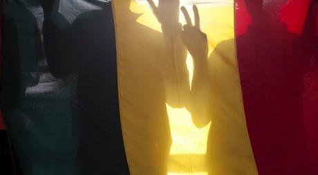Silhouettes de Maliens derrière le drapeau national, Bamako, 11 avril 2012, REUTERS/Joe Penney