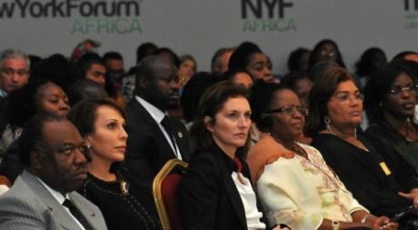 Cécilia Attias, troisième à partir de la gauche, lors du New York Forum Africa  à Libreville, juin 2012  © WILFRIED MBINAH/AFP