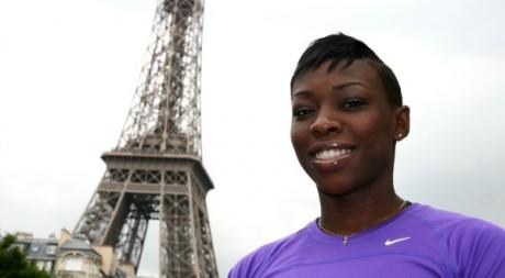 La sprinteuse Murielle Ahouré, à Paris. ©Stéphanie Trouillard, tous droits réservés.