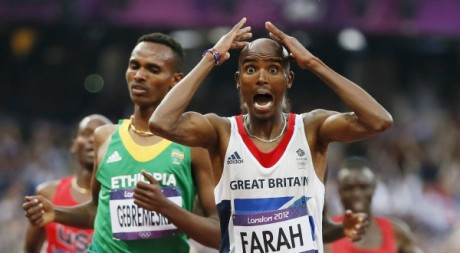 Le britannique Mo Farah gagne le 5.000 mètres, 11 août 2012, REUTERS/Lucy Nicholson