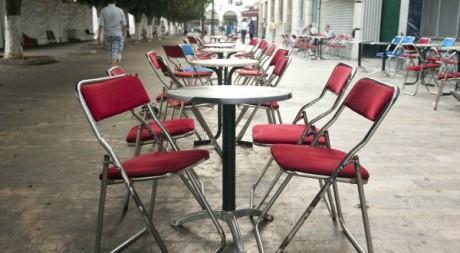 Une terrasse de café vide à Rabat © Fadel Senna /AFP