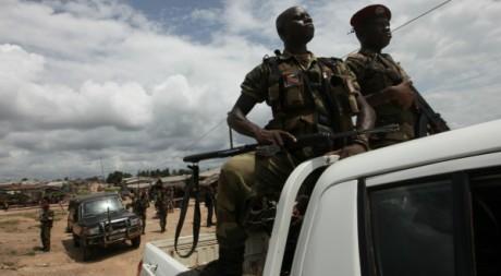 Patrouille ivoirienne à la frontière ivoirienne, le 17 juin 2012. REUTERS/ Luc Gnago