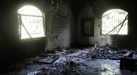 Ruines du consulat américain à Benghazi, après l'attaque du 11 septembre. © AFP