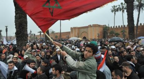 Manifestations du 20 février 2011, Rabat. © ABDELHAK SENNA / AFP