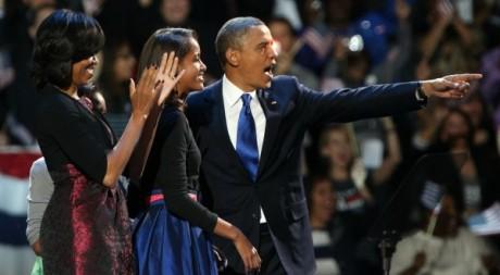 Barack Obama et sa famille, le soir de sa réelection, Chicago, 7 novembre 2012. ©REUTERS/Philip Andrews