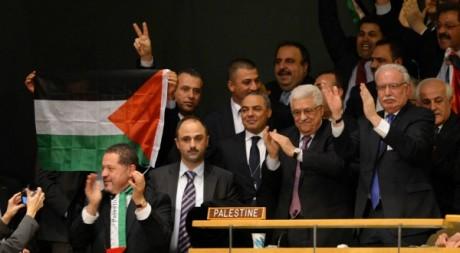 New-York. Délégation palestinienne le 29 novembre 2012, jour de l'admission de la Palestine comme Etat à l'ONU. AFP/STAN HONDA
