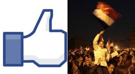 """A droite une manifestation anti-Moubarak le 11 février 2011. REUTERS/Dylan Martinez. A gauche, le """"like"""" de Facebook via Flickr"""