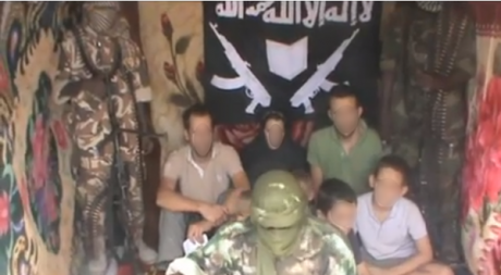 Capture d'écran de la vidéo des otages français enlevés au Cameroun