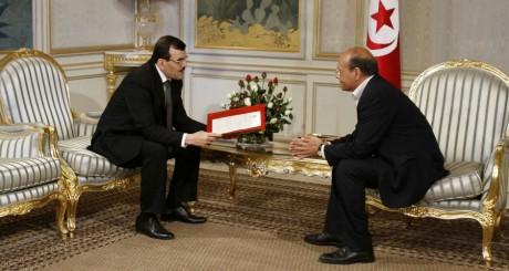 Ali Laarayedh (gauche) Moncef Marzouki, Tunis, 8 lmars 2013. © REUTERS/Zoubeir Souissi