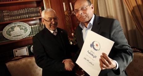 Le président Moncef Marzouki et le leader d'Ennahda Rached Ghannouchi, Tunis, 22 février 2013.