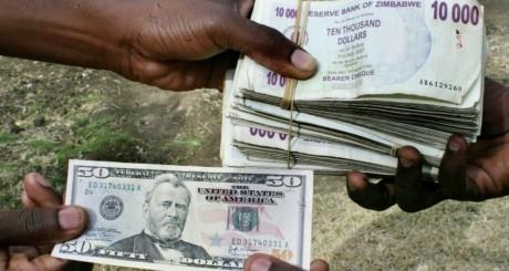 Dollars du Zimbabwe échangé contre des dollars américains au marché noir / REUTERS