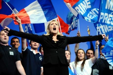 Marine Le Pen, présidente du Front national, le 17 avril 2012 / AFP