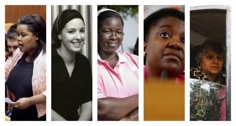 Lindiwe Mazibulo, Marie-Cécile Zinsou, Esther Madudu, Cécile Kyenge et Basma Khalfaoui / Photomontage