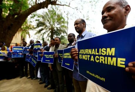 Manifestation à Khartoum en soutien aux journalistes emprisonnés en Égypte, REUTERS / Mohamed Nureldin