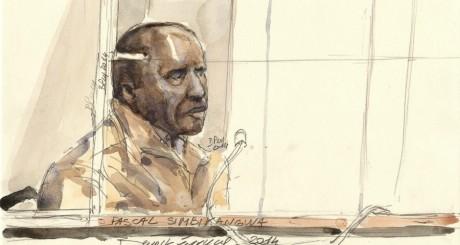 Croquis de Pascal Simbikangwa lors de son procès / AFP