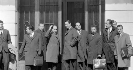 Arrivée de la délégation algérienne à Evian, mars 1962 / AFP