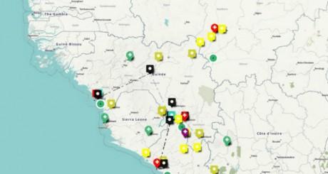 Capture d'écran d'une carte Open Street Map de suivi du virus Ebola, en Afrique | Par le VISOV