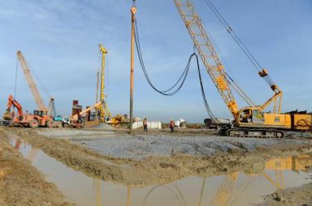 Des travaux pour construire une ligne de TGV au Maroc. Photo AFP