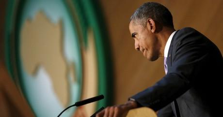 Barack Obama donne un discours devant les 54 chefs d'Etat africain, le 28 juillet 2015. Crédit photo: REUTERS/Jonathan Ernst