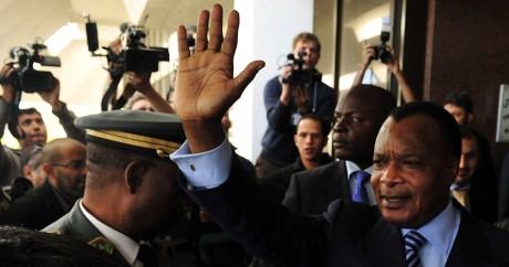 Le président congolais Denis Sassou Nguesso en Libye à Benghazi, le 11 avril 2011. Crédit photo: REUTERS/Esam al-Fetori