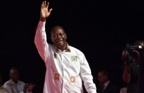 Le président ivoirien sortant, Alassane Ouattara, lors d'un meeting électoral  à Abidjan, le 13 septembre 2015 AFP ISSOUF SANOG