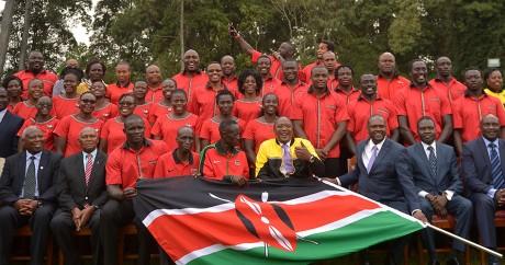 L'équipe olympique du Kenya, à Nairobi le 22 juillet 2016. TONY KARUMBA / AFP