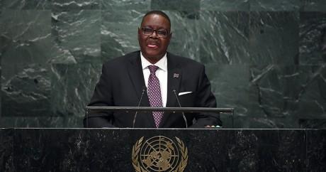 Le président du Malawi Peter Mutharika, le 25 septembre 2016, à l'assemblée générale de l'ONU. Jewel SAMAD / AFP