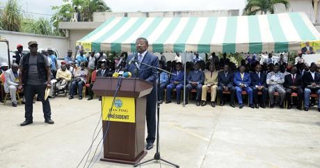 Jean Ping prononce un discours à Libreville, le 9 septembre 2016. STEVE JORDAN / AFP