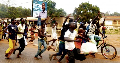 Des partisans du président Faustin-Archange Touadera en février 2016 à Bangui. PACÔME PABANDJI / AFP
