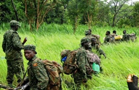 Des soldats ougandais patrouillent à Obo en Centrafrique, le 11 mai 2014. Crédit photo: AFP Stringer