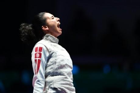 La fleurettiste tunisienne Inès Boubakri, médaillée de bronze, aux JO de Rio le 10 août 2016 AFP Kirill KUDRYAVTSEV