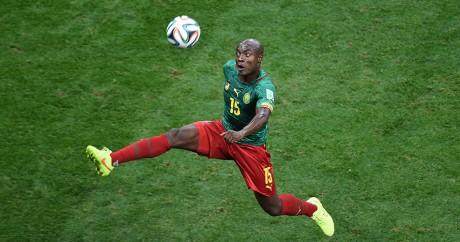 Le joueur camerounais Pierre Achille Webo lors de la Coupe du monde 2014 au Brésil. EVARISTO SA / AFP