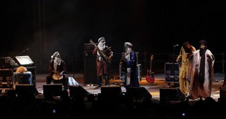 Le groupe Tinariwen en concert au Liban le 25 juillet 2012. ANWAR AMRO / AFP