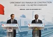 Macron pose la première pierre du métro d'Abidjan